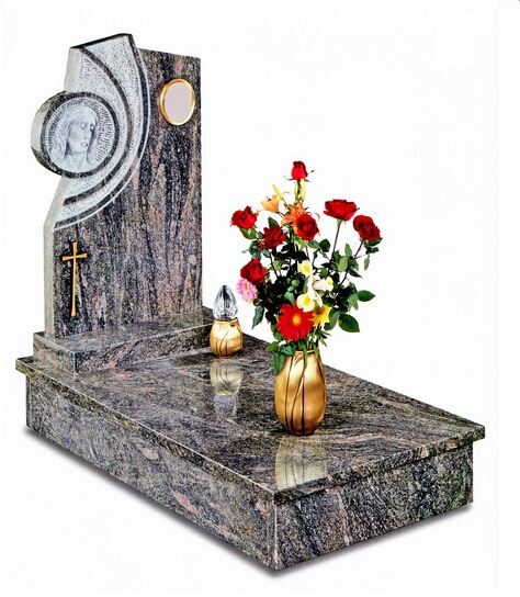 Granite headstone with vase