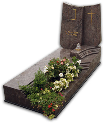 Brown granite high polished headstone