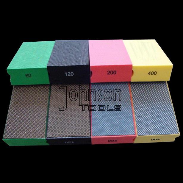 Electroplated hand polishing pads