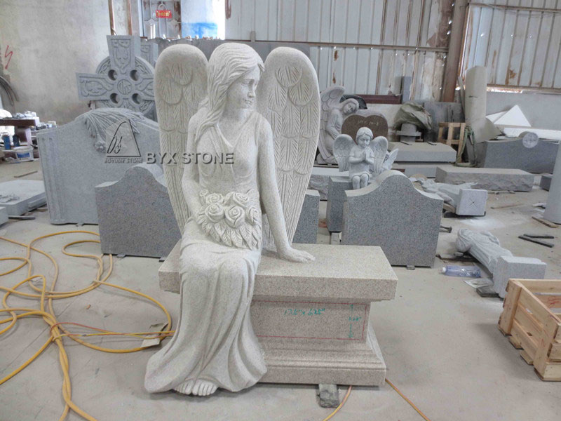 New Design Pearl White Granite Sitting Angel Headstone Tombstone