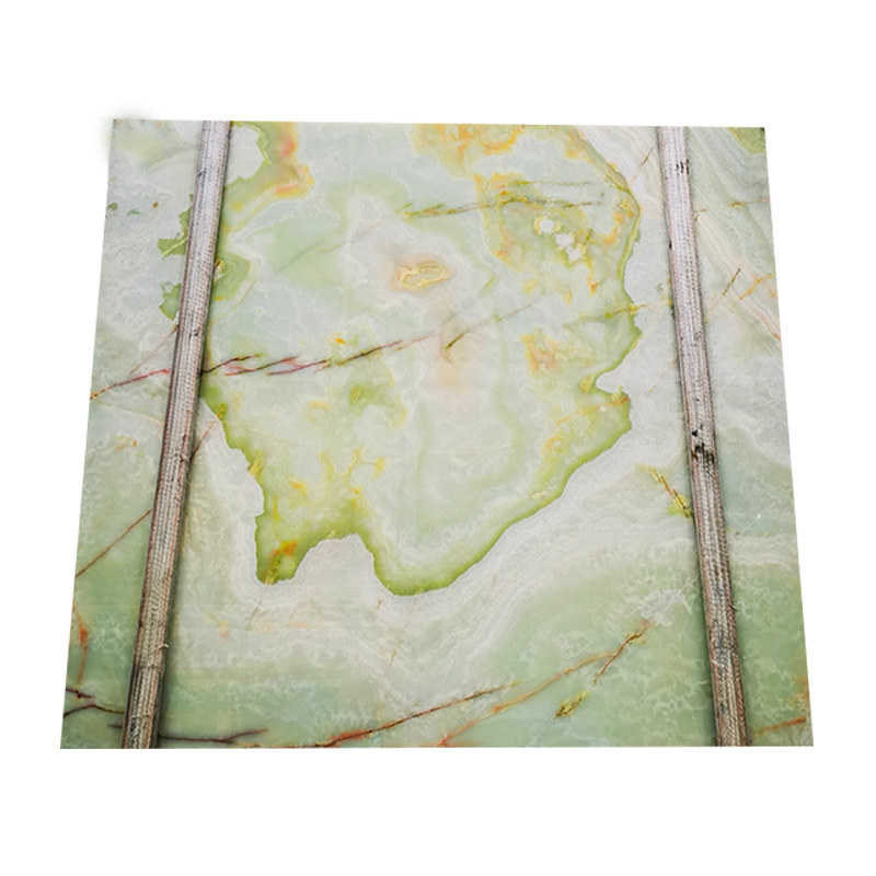 Custom cut light green onyx marble slab for wall