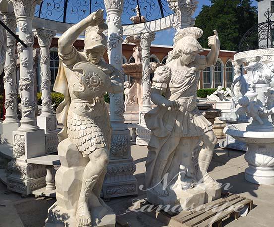 marble roman soldier sculpture