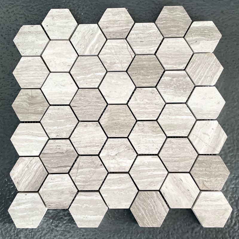 White Wood Marble Mosaic Bathroom Kitchen Tiles