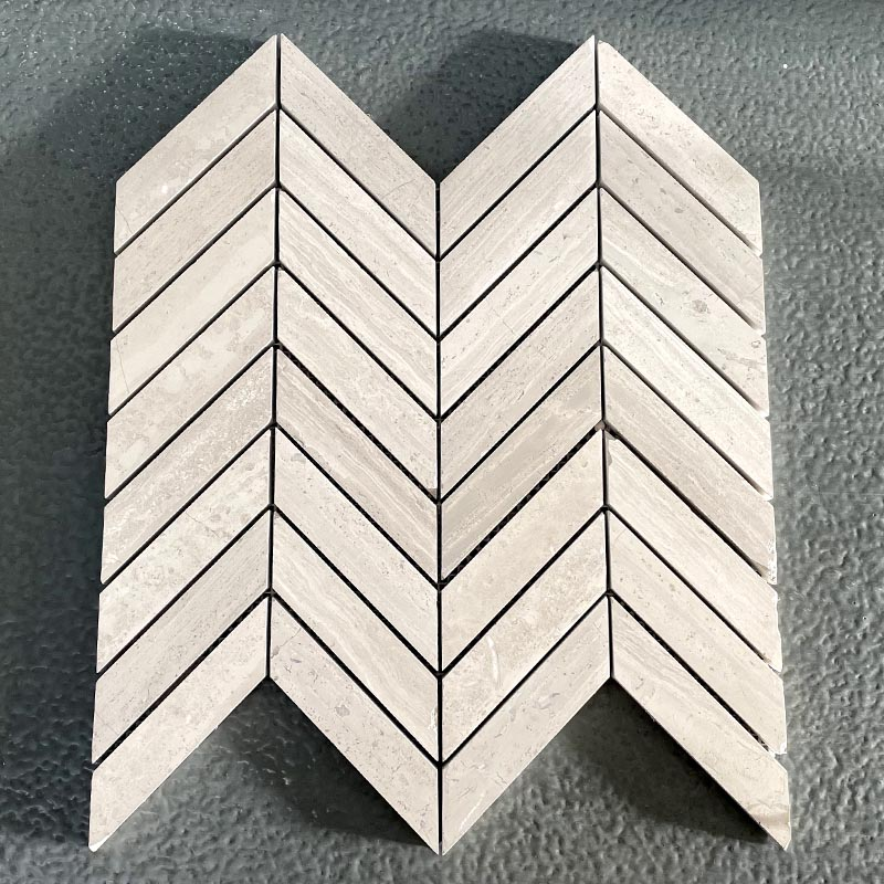 White Wood Marble Chevron Flooring Wall Mosaic