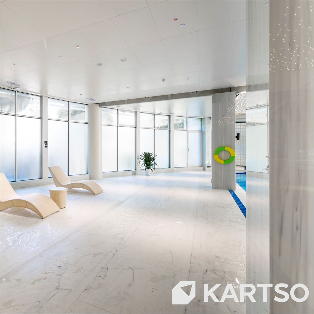 Kartso Shallow Blue And White Porcelain Artificial Stone For Countertops Vanity Tops