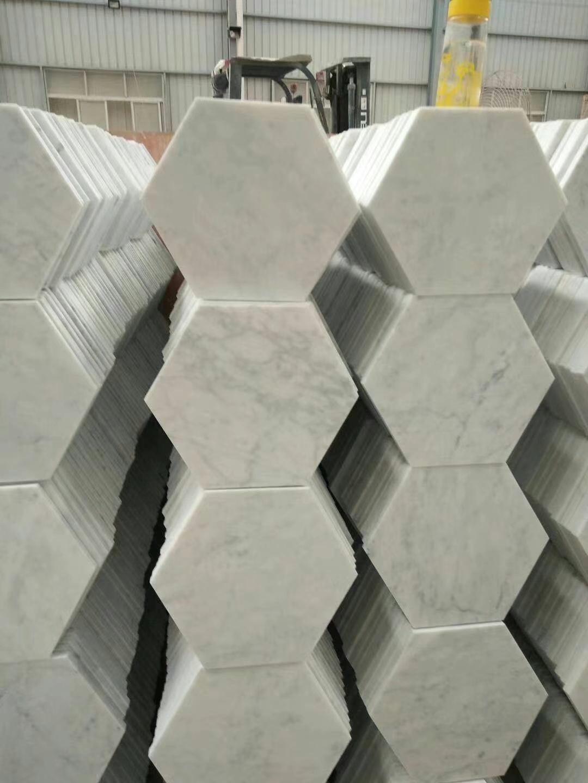 Cararra White Hexagon Marble TIles