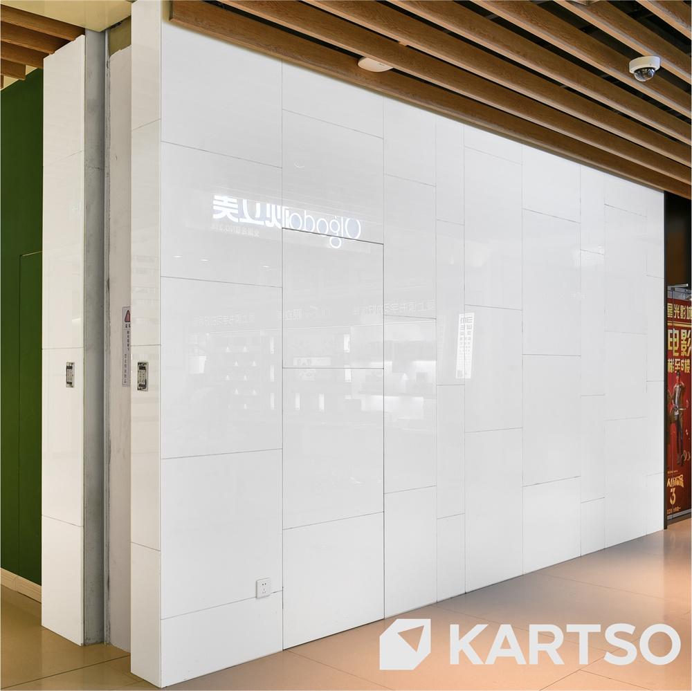Kartso Eco-friendly White Nano Cyrstallized Glass Stone Tiles Slab for Counter Top