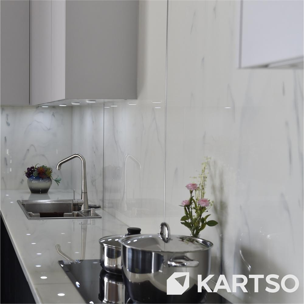 Kartso Nano White Marble Engineered Nano Glass Kitchen Stone