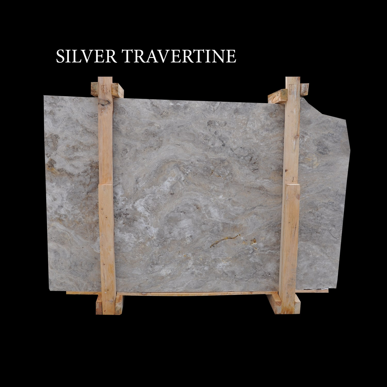 Silver Travertine Cross Cut