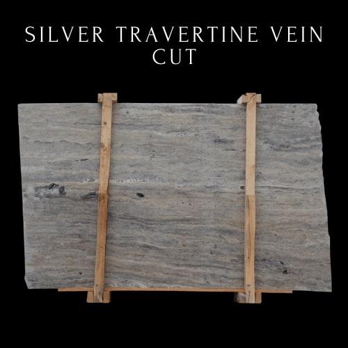 Silver Travertine Vein Cut- Multicolor Grey Silver Travertine