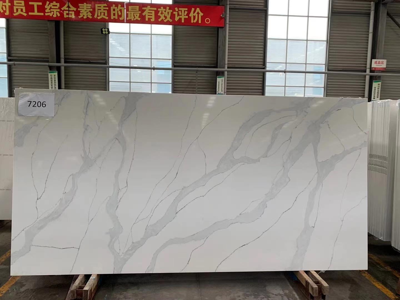 Quartz Slab Calacatta White Quartz K7206 China Quartz Slab Quartz Stone