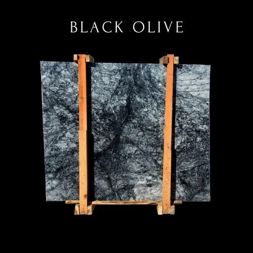 Black White Cloudy Marble Slab