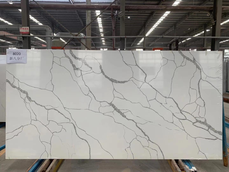 Quartz Slab Calacatta White Quartz K8020 China Quartz Slab Quartz Stone