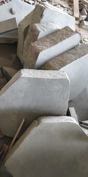 Indian Black Basalt - Thick Stepping Blocks Sawn  Edges Natural