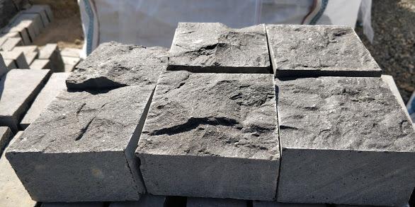 Indian Black Basalt Cobbles - Top & Bottom Split  4 Side sawn