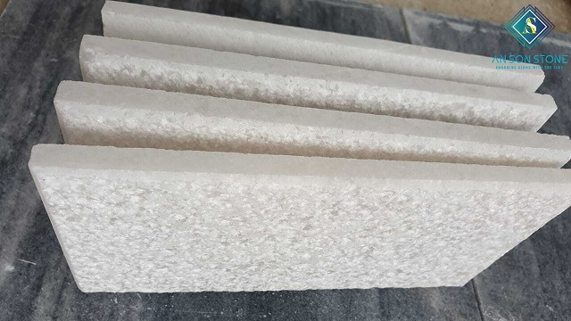 Pure White Bush Hammer Marble TileCladding stone