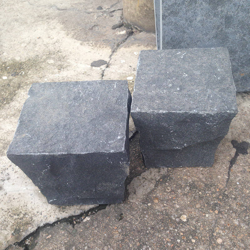Black Basalt Cobbles Top Flamed