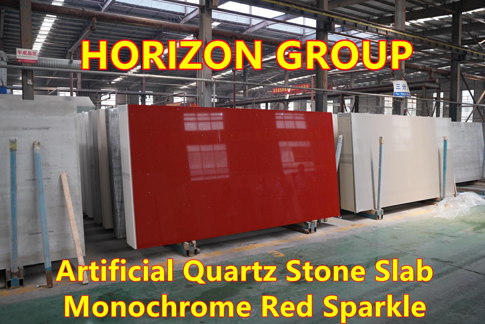 Artificial quartz stone Monochrome Red Sparkle