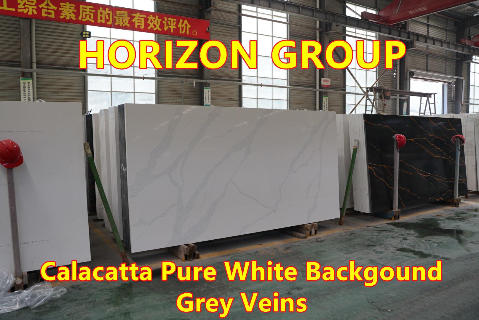 Quartz Calacatta Pure White Background Grey Veins