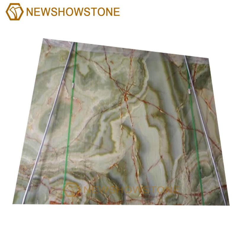 polish green onyx marble slab
