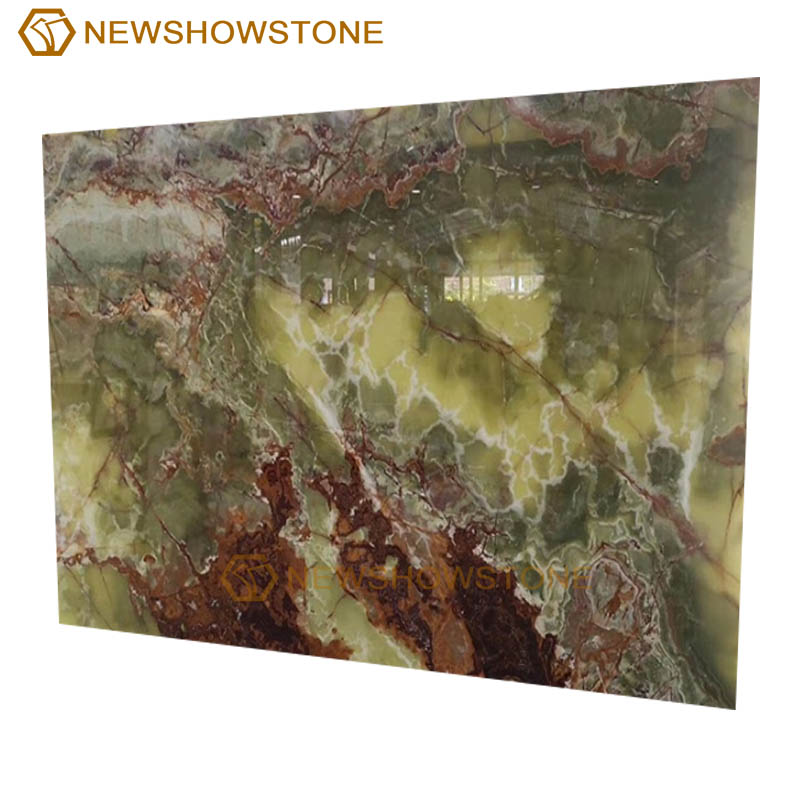 Natural green onyx marble slab background
