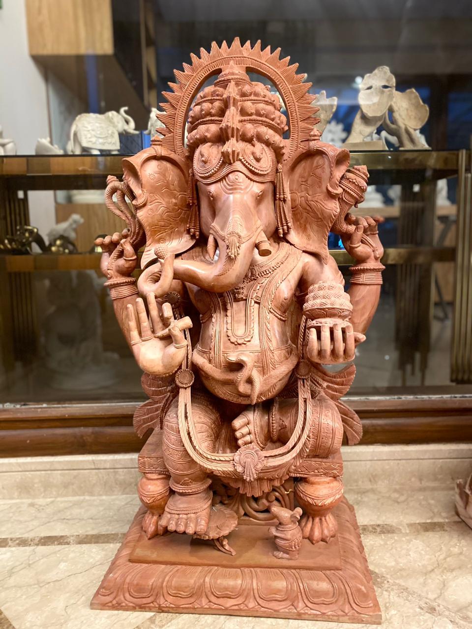 Ganesha  Serpentine Carved Stone Sculpture