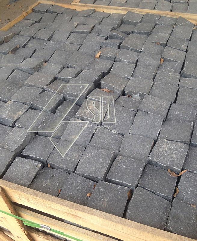 Black Basalt Cobbles Split