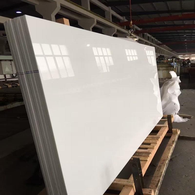 Crytal glass white stone slab polished