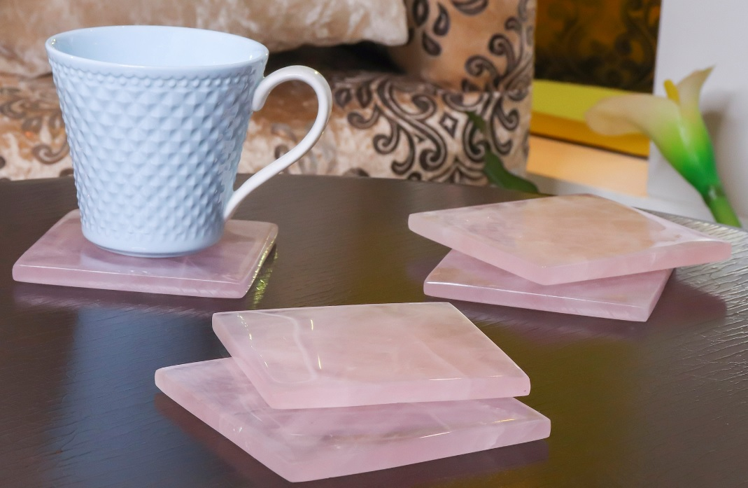 Natural Rose Quartz Tea Coaster
