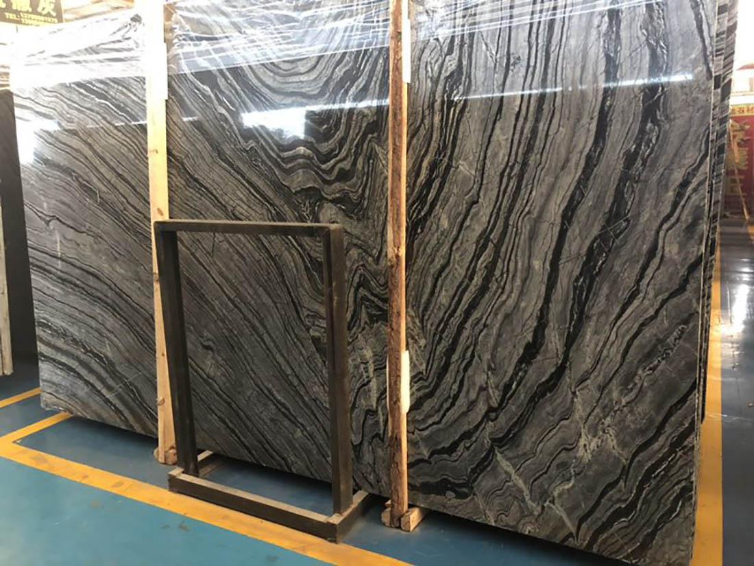 Tree Black Marble Slabs