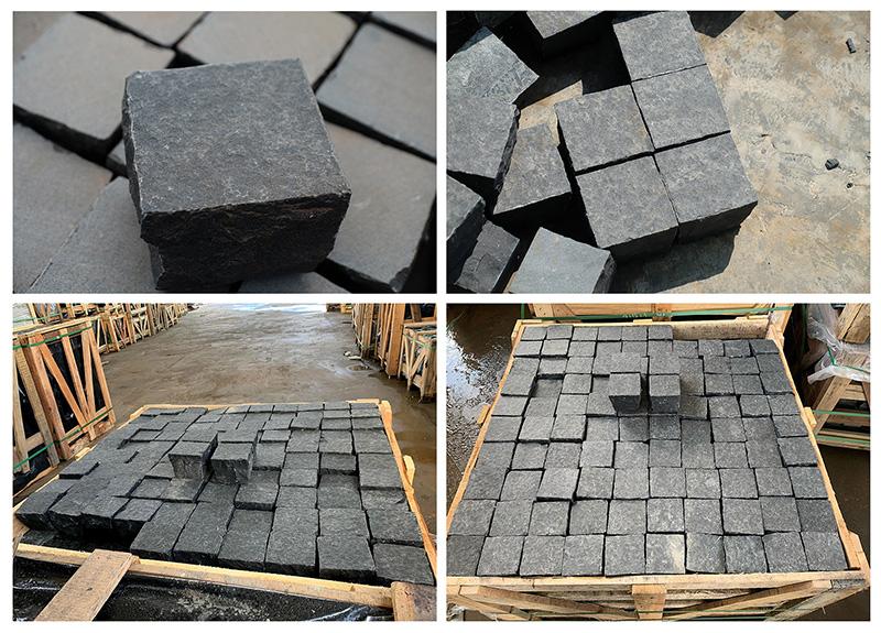 Deep Black Basalt Cobbles Top Flamed