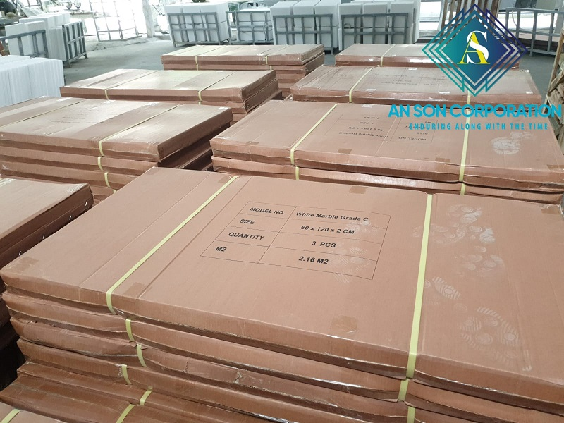SPECIAL PACKING Carton box and bell white marble