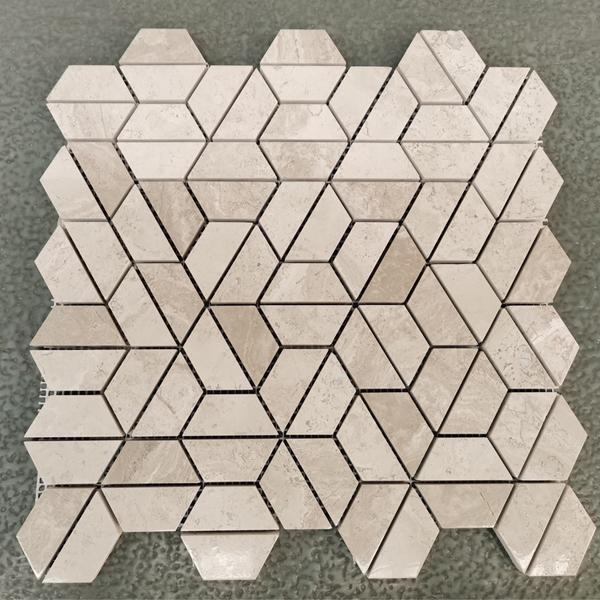 White Wood Marble Cross Cut Mosaic Tiles