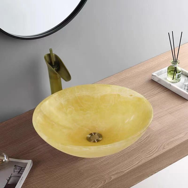 Yellow onyx basin
