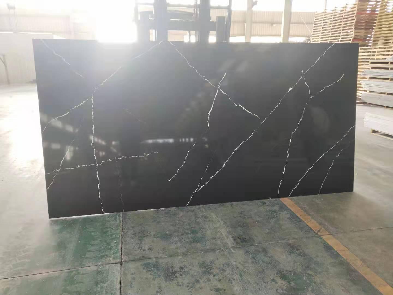 Black Quartz Veins Calacatta Artificial Quartz Slabs