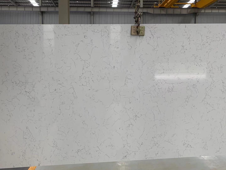 quartz carrara white color slab
