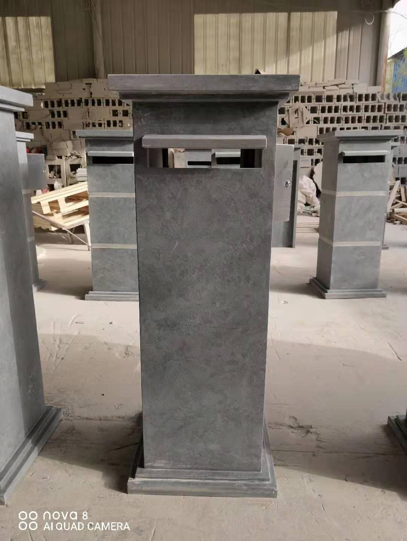 Blue limestone mail box