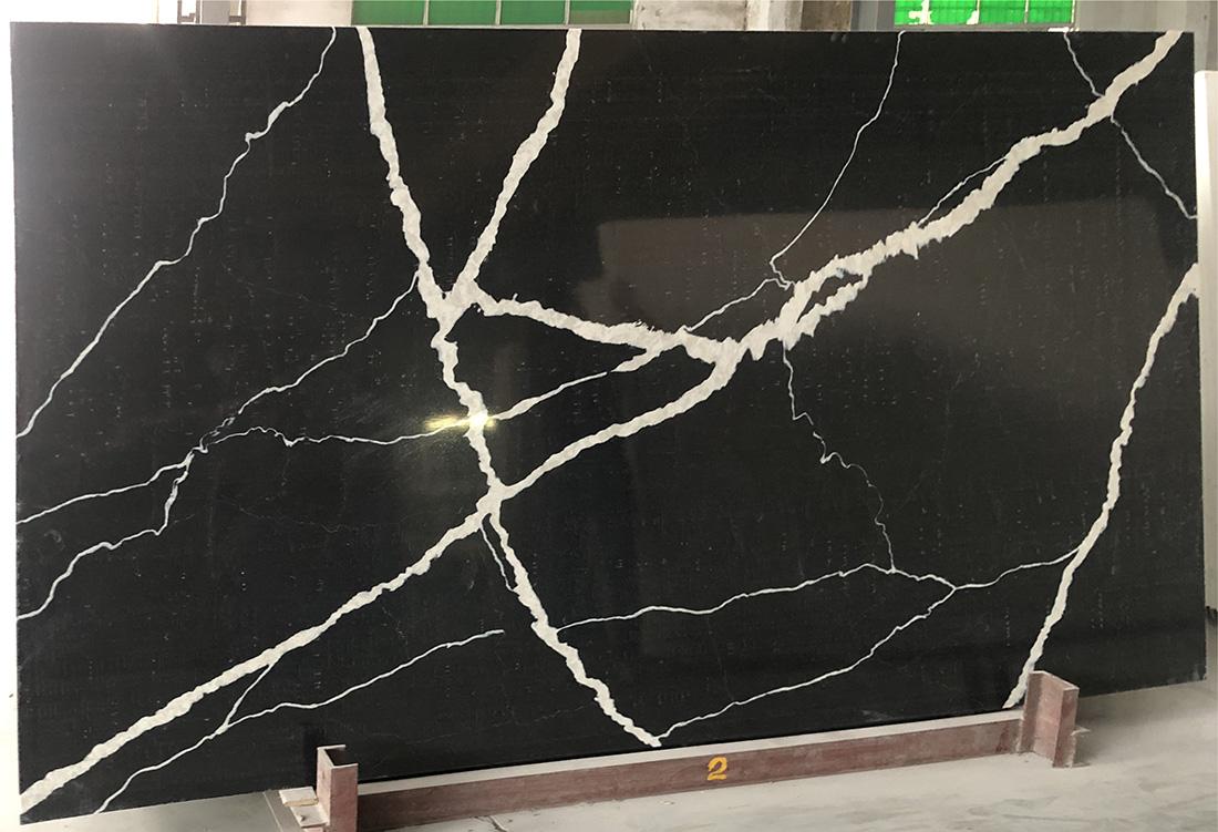 Calacatta Black Quartz slabs Kitchen Countertops  Bathroom Vanity Tops