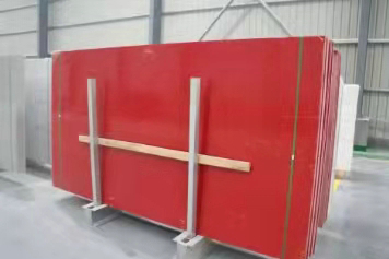 QUARTZ RED COLOR WITH MIRRORS SLAB