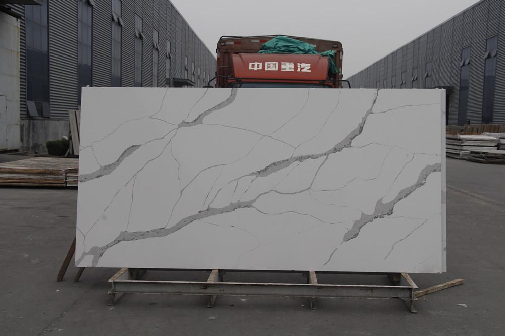 Polished 3.2x1.6m Artificial Calacatta Stone