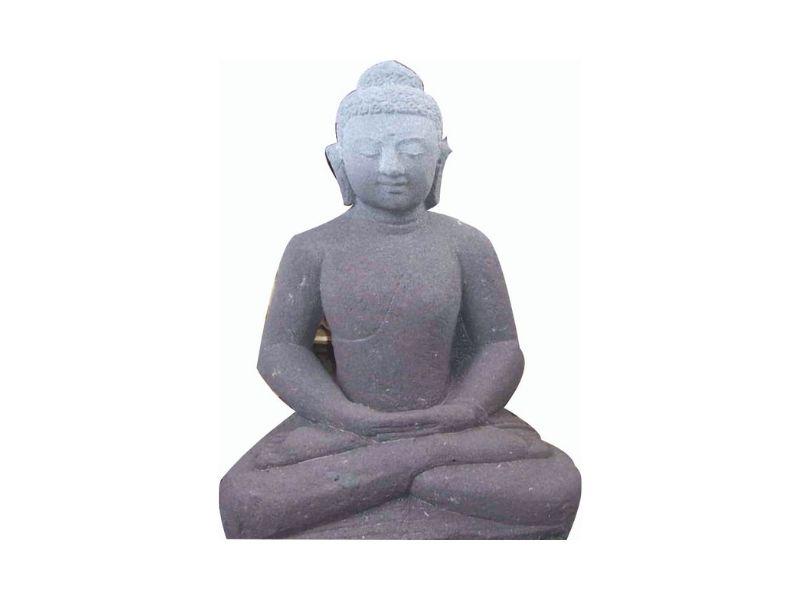 Black Lavastone Buddha Sculpture Decor for Home