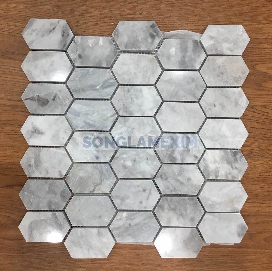 White Cloudy Hexagon Mosaics