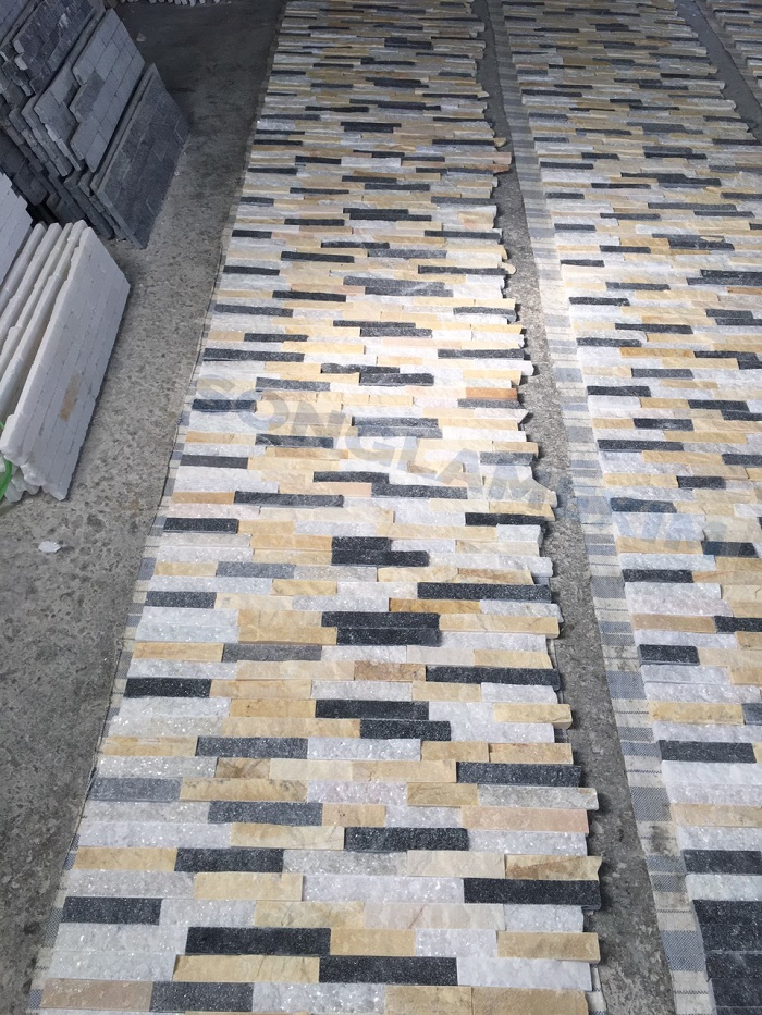 Multi - color Stacked Stone Panel