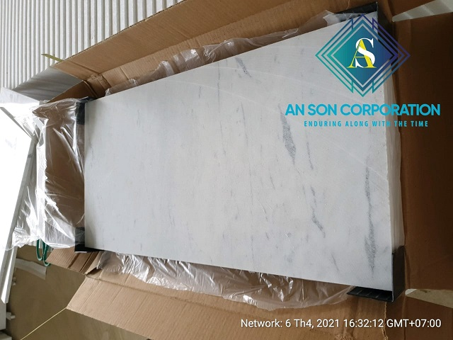 Continue Packing White Marble Tile for EU customer