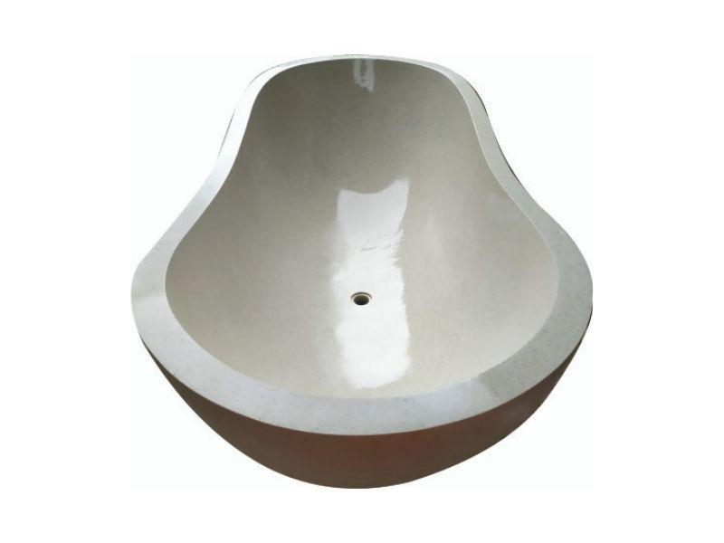 Terrazzo Resin Bathtub Oval White Classic