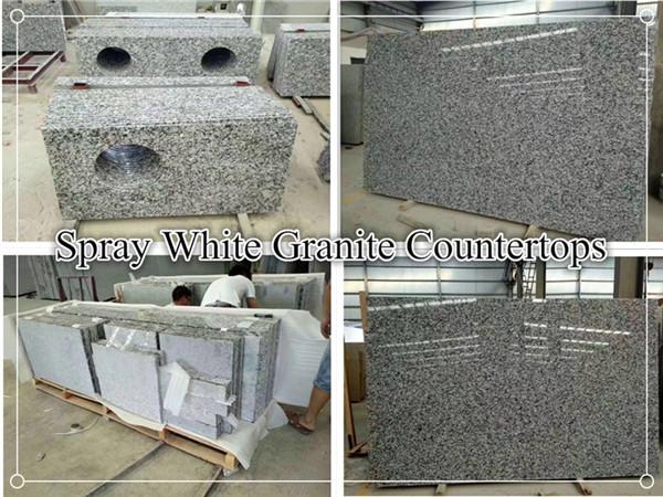 Spray white granite countertop