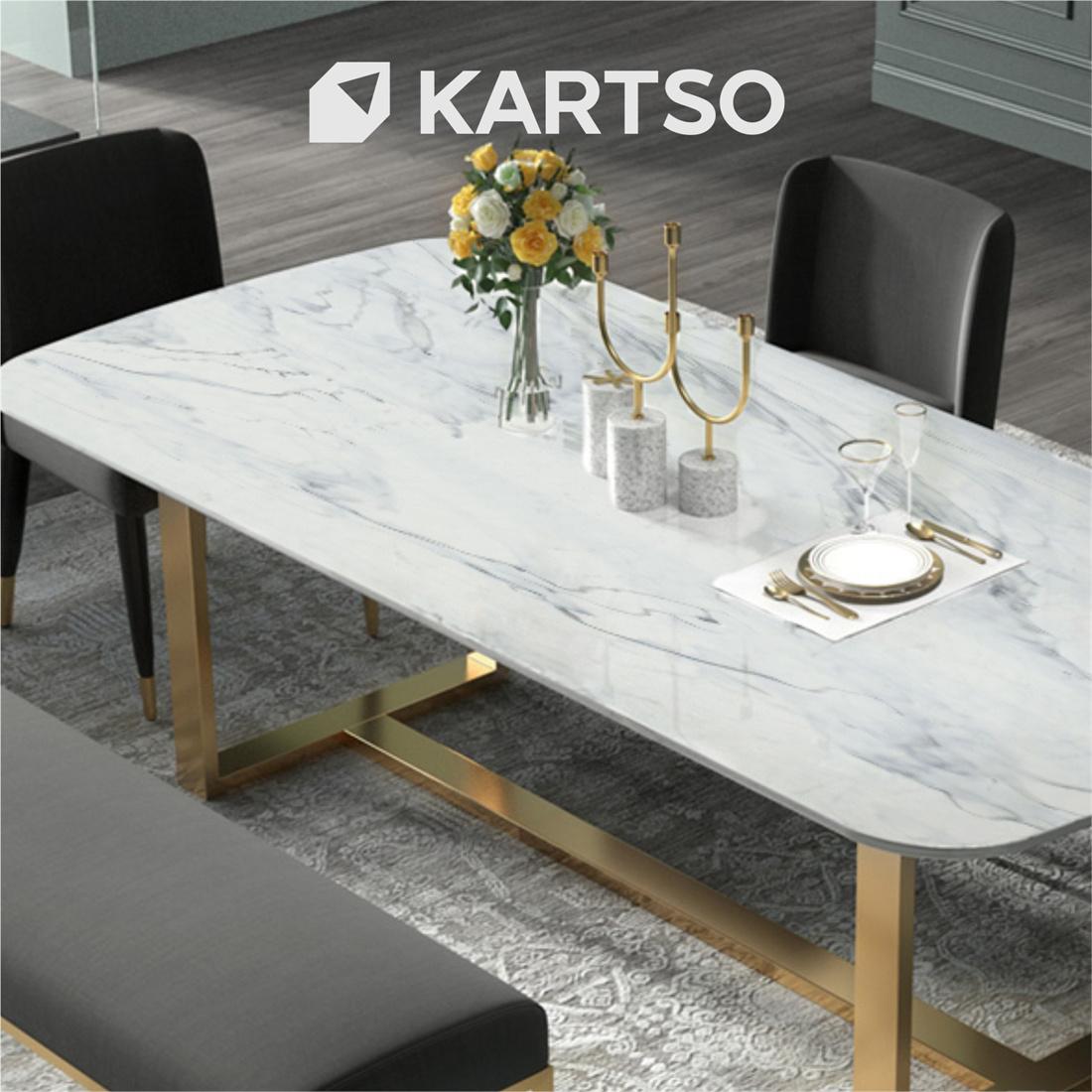 Kartso Calacatta  Nano Crystallized Glass Stone Slab For table top