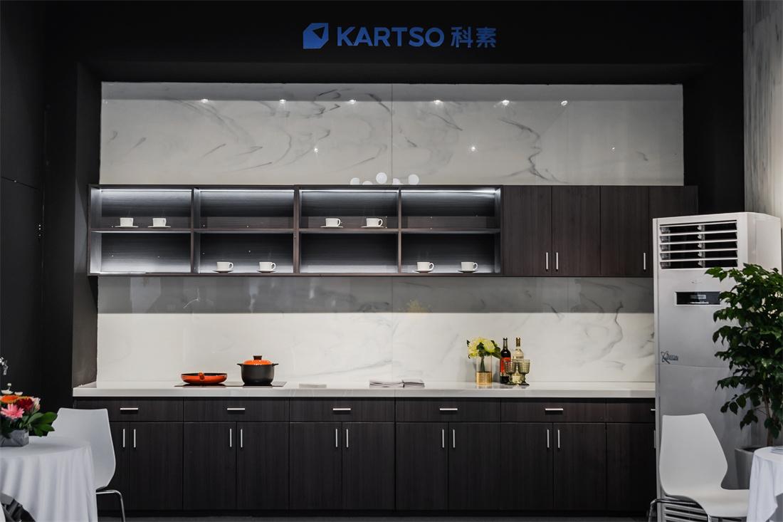 Kartso Calacatta  Nano Crystallized Glass Stone Slab For kitchen countertop