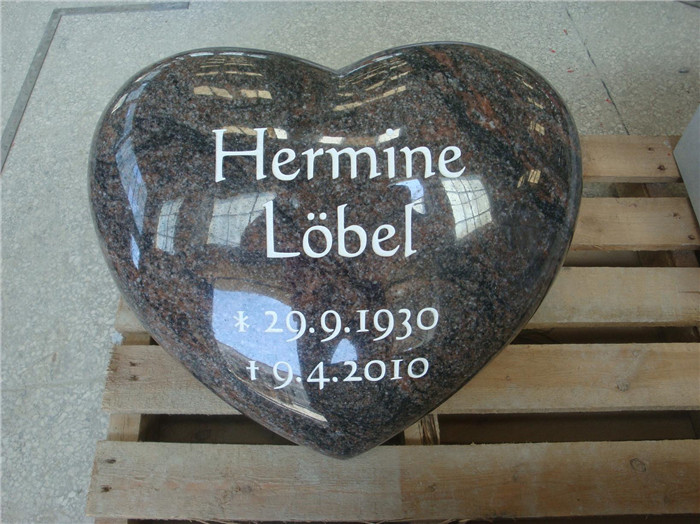Heart shape granite headstone for grave