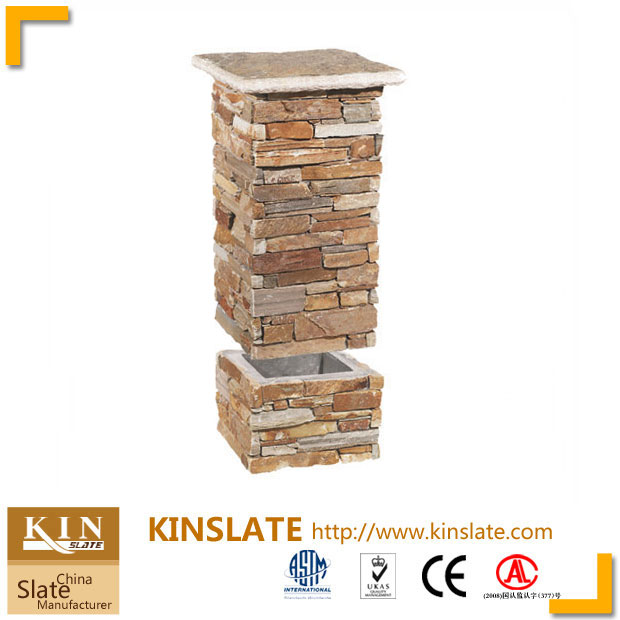 Beige quartzite ledgestone column units